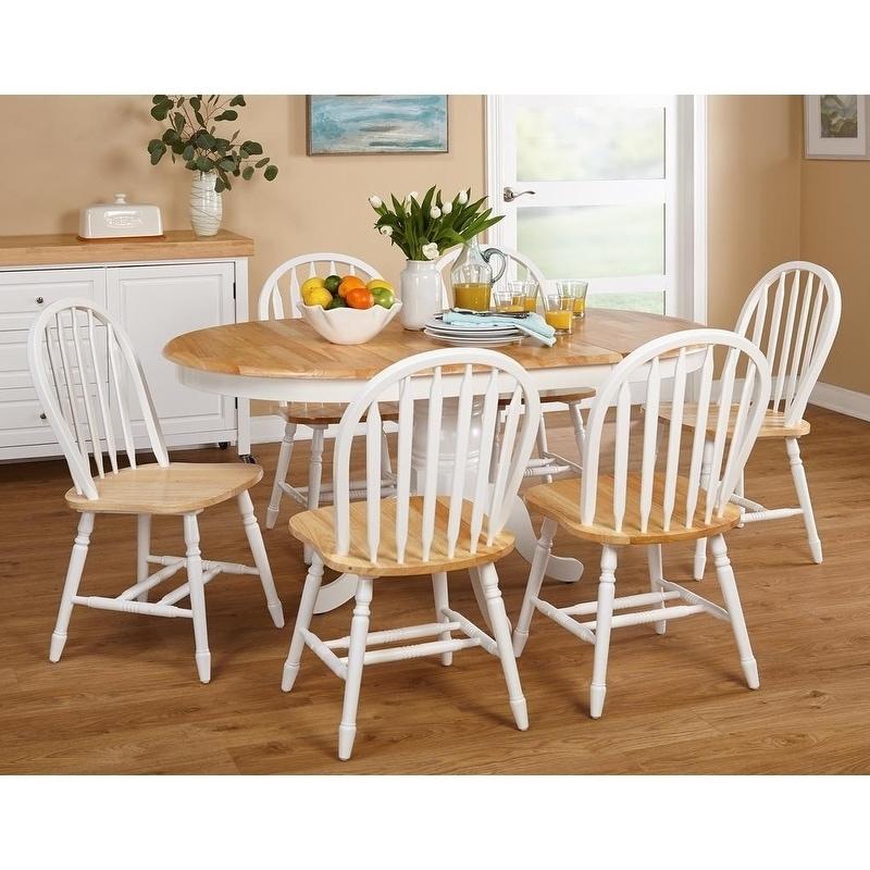 Simple Living Rubberwood Farmhouse Table White Natural