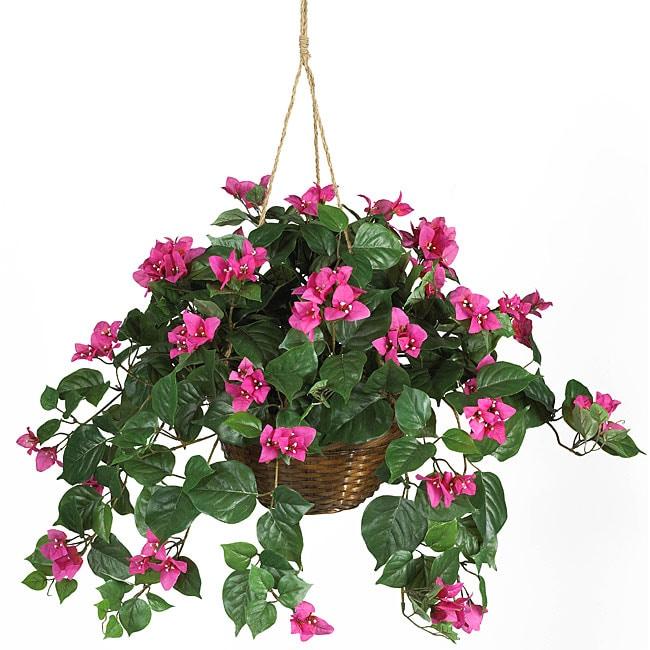 Bougainvillea Silk Plant Hanging Basket On Sale Overstock 3545924