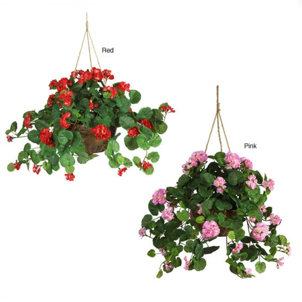 Nearly Natural Geranium Silk Plant, Artificial Soil, and Wicker Hanging Basket