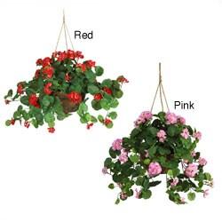 Geranium Silk Plant Hanging Basket
