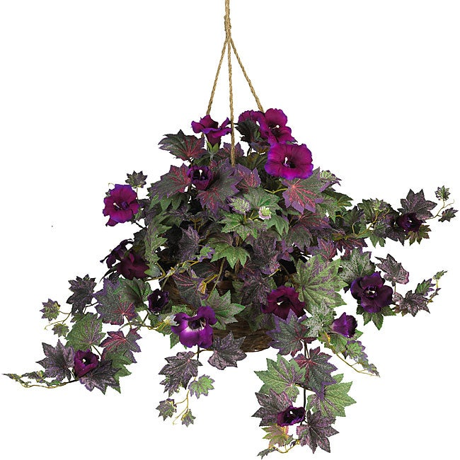 Nearly Natural Morning Glory Green Fabric Silk Plant Hanging Basket