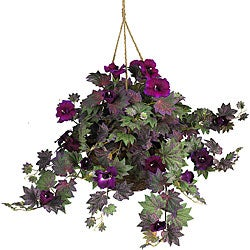 Nearly Natural Morning Glory Green Fabric Silk Plant Hanging Basket - Thumbnail 0