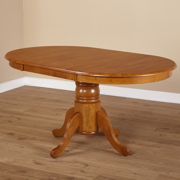 Simple Living Rubberwood Round/ Oval Farmhouse Table