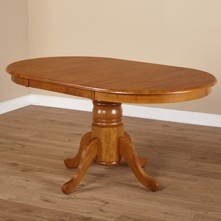 Simple Living Rubberwood Round/ Oval Farmhouse Table - Brown