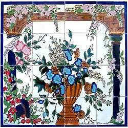 Floral Arcades Mosaic 16-tile Wall Mural