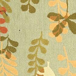 Safavieh Handmade Ferns Contemporary Light Blue Wool Rug (5'3 x 8'3) - Thumbnail 1