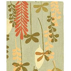 Safavieh Handmade Ferns Contemporary Light Blue Wool Rug (5'3 x 8'3) - Thumbnail 2
