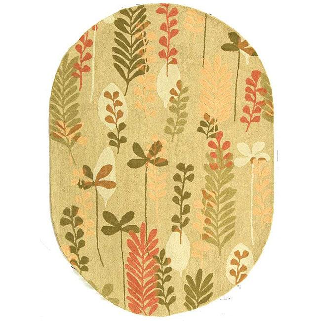 "Safavieh Handmade Ferns Contemporary Taupe Wool Rug - 4'6"" x 6'6"" oval"
