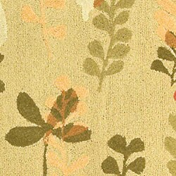 Safavieh Handmade Ferns Contemporary Taupe Wool Rug (4'6 x 6'6) - Thumbnail 1