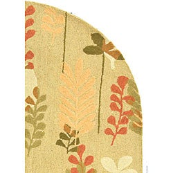 Safavieh Handmade Ferns Contemporary Taupe Wool Rug (4'6 x 6'6) - Thumbnail 2