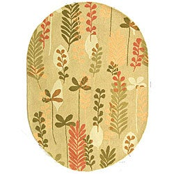 Safavieh Handmade Ferns Contemporary Taupe Wool Rug (4'6 x 6'6)