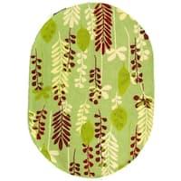 "Safavieh Handmade Ferns Light Green Wool Rug - 4'6"" x 6'6"" oval"