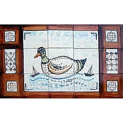 Mosaic 'Swimming Duck' 15-tile Ceramic Wall Mural