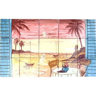 Tranquility Island Balcony Sunset View' Set 15 Ceramic Tile Decorative Wall Mural