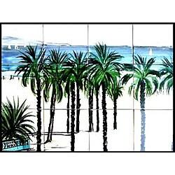 Mosaic 'Venice Beach' 12-tile Ceramic Wall Mural