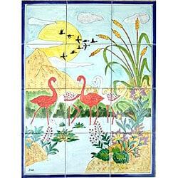 Mosaic 'Landscape Pelicans' 12-tile Ceramic Wall Mural