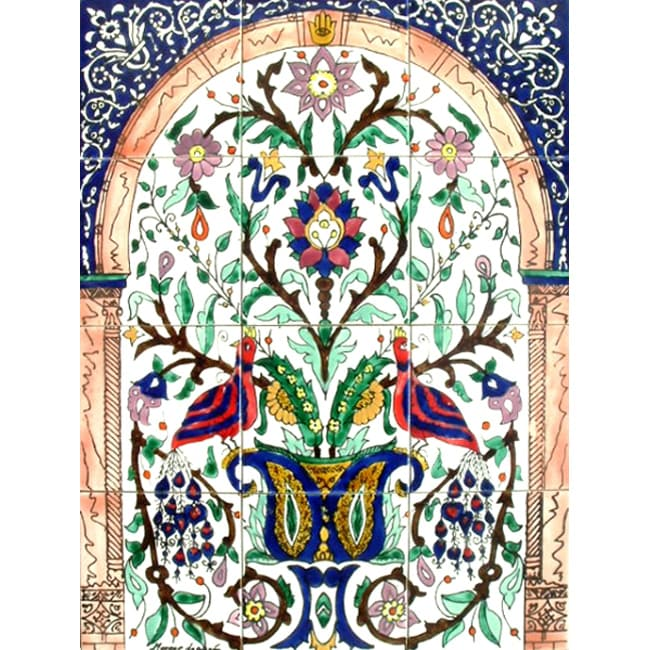 Mosaic 'Baby Peacock' 12-tile Ceramic Wall Panel