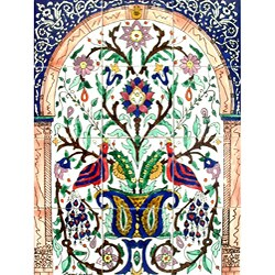 Mosaic 'Baby Peacock' 12-tile Ceramic Wall Panel