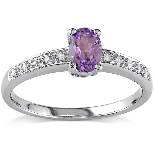 Miadora 10k Gold Created Alexandrite and Diamond Accent Ring