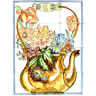 Pitcher Backsplash 12-tile Ceramic Wall Mosaic