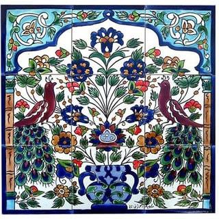 Antique-style Peacock Design 9 Tile Ceramic Tile Mosaic Wall Mural