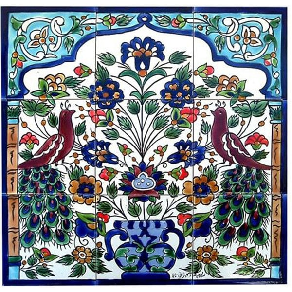 Antique-style Peacock Design 9 Tile Ceramic Tile Mosaic Wall Mural. Opens flyout.