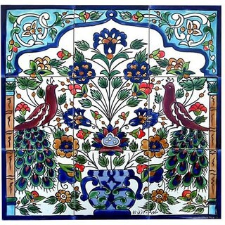 Antique-style Peacock Design 9 Tile Ceramic Tile Mosaic Wall Mural