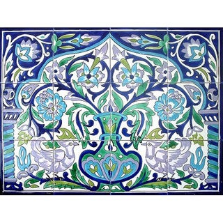 Arabesque Floral Pot and Rooster Ceramic Tile Ceramic Mosaic Wall Mural (Set of 12)