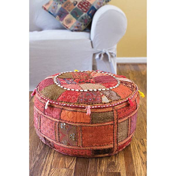 "Artist's Loom Traditional Indian Pouf (24""x24"") (Set of 2)"