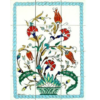 Exotic Flowery Vase 12-tile Ceramic Wall Mosaic