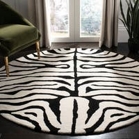 Safavieh Handmade Soho Zebra Ivory/ Black New Zealand Wool Rug - 8' x 8' Round