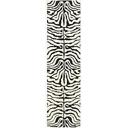 Safavieh Handmade Soho Zebra Ivory/ Black N. Z. Wool Runner (2'6 x 14')