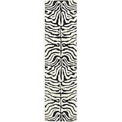 """Safavieh Handmade Soho Zebra Ivory/ Black N. Z. Wool Runner - 2'6"""" x 14'"""