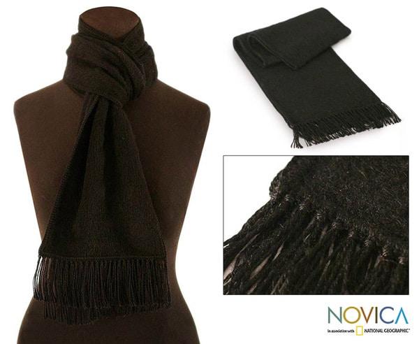 'Coal Night' Alpaca Wool Scarf (Peru)