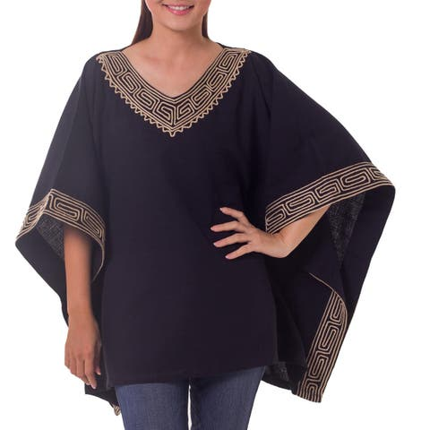 Flowing Nature 100-percent Cotton Black with Natural Geometric Embroidery V Neck Batwing Sleeve Pullover Womens Top (Thailand)