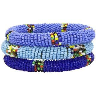 Handmade Trio of Blue Massai Bangles (Kenya)