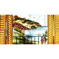 Tranquility River View' Set 8 Ceramic Tile Decorative Mosaic Wall Mural