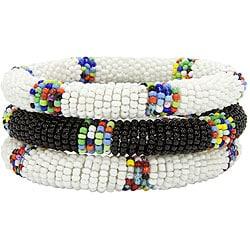 Trio of Black and White Bracelets (Kenya)