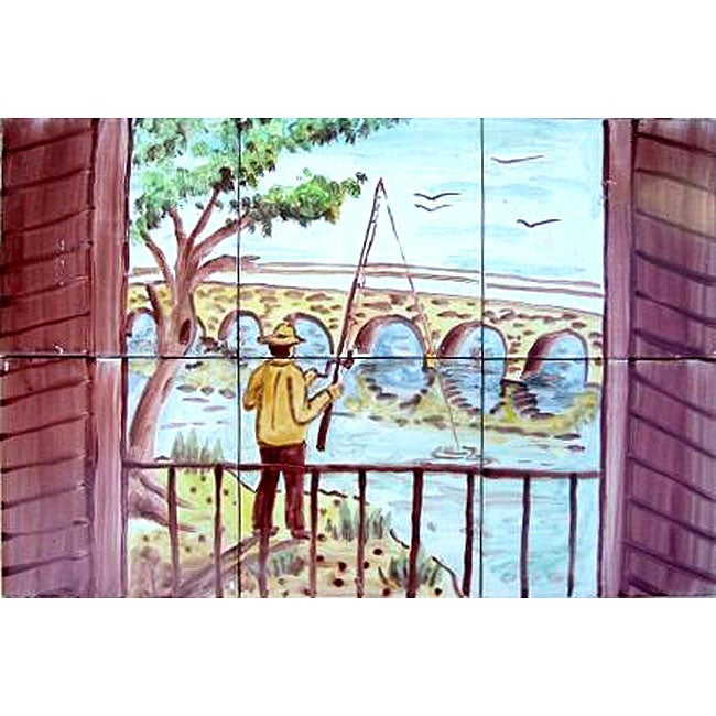 mosaic fisherman 6 tile ceramic wall mural free