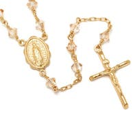 14k Gold over Silver Crystal Rosary Necklace