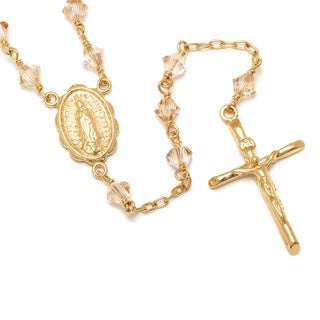 14k Gold over Silver Crystal Rosary Necklace - White