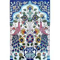 Mosaic 'Antique Looking Art Peacock' 6-tile Ceramic Wall Mural