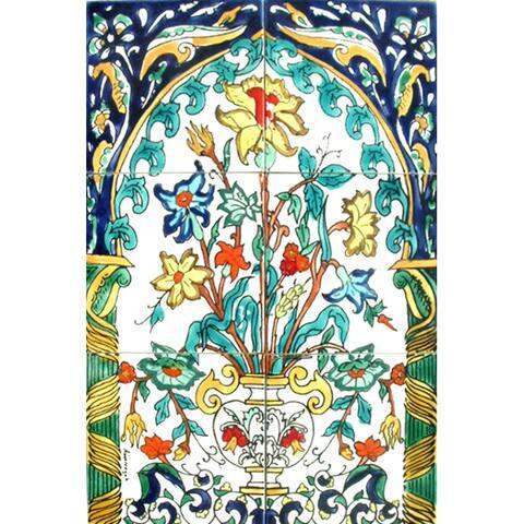 Mosaic 'Vanilla Canary Bird' 6-tile Ceramic Wall Mural