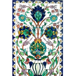Mosaic 'Floral Pot' 6-tile Ceramic Wall Mural
