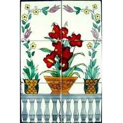 Mosaic 'Red Bouquet' 6-tile Ceramic Wall Mural