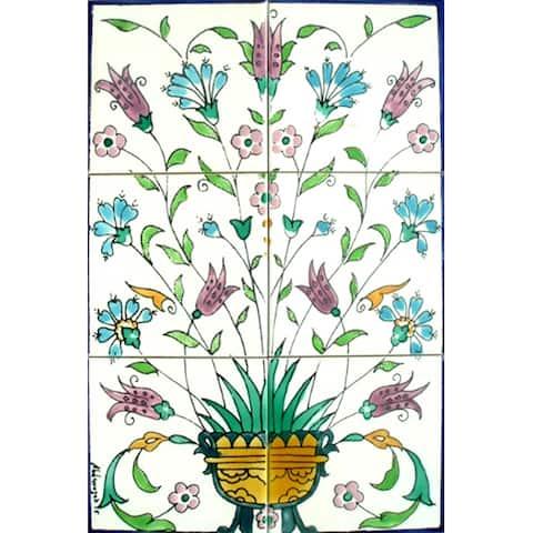 Mosaic 'Violet Floral Pot' 6-tile Ceramic Mural