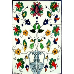Mosaic 'Exotic Floral Pot' 6-tile Ceramic Mural
