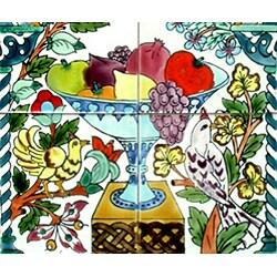 Mosaic 'Floral Arch Fruit' 6-tile Ceramic Mural