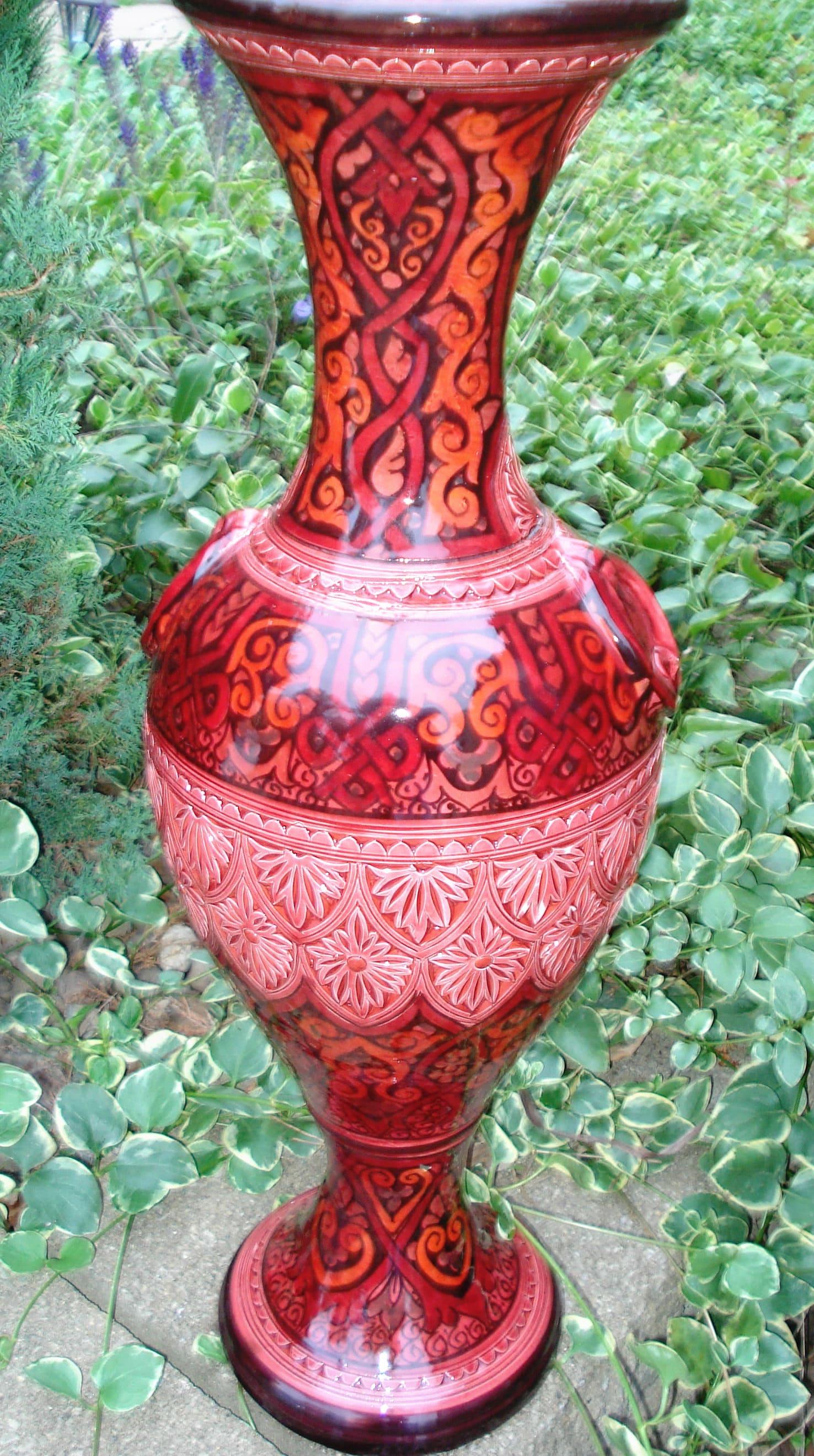 la palmeraie moderne 26 inch ceramic vase handmade in. Black Bedroom Furniture Sets. Home Design Ideas