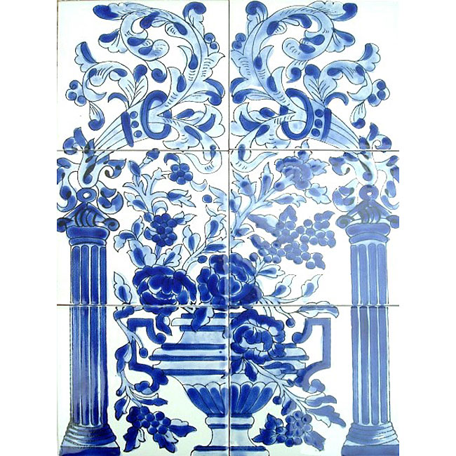Mosaic 39 blue mix floral 39 6 tile ceramic mural free for Ceramic mural wall tiles